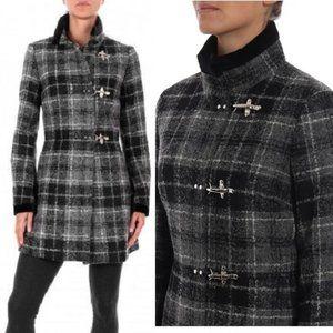 NWT FAY Virginia Wool/Alpaca Tartan Plaid Toggle S